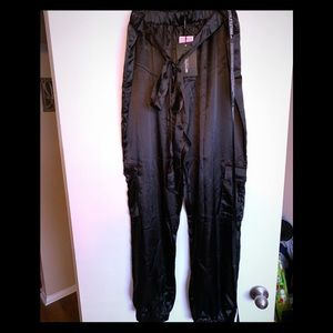 Plus Black Satin Cargo Trousers